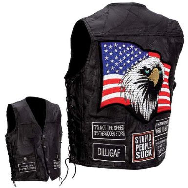 B&F System GFVAP2X Diamond Plate Rock Design Genuine Buffalo Leather Concealed Carry Vest with Patches - Peazz.com