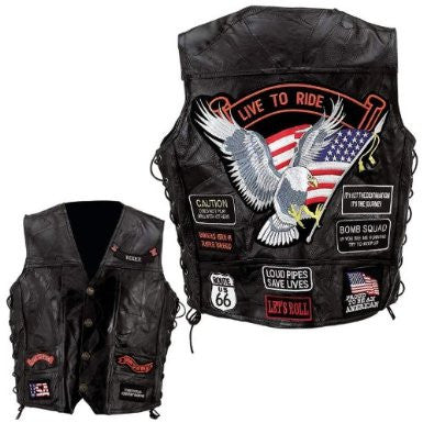 B&F System GFVBIK14L Diamond Plate Rock Design Genuine Buffalo Leather Vest - Peazz.com