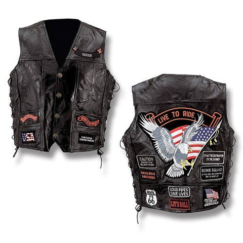 B&F System GFVBIK14M Diamond Plate Rock Design Genuine Buffalo Leather Vest - Peazz.com