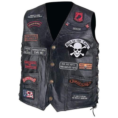 B&F System GFVBIK23L Diamond Plate Hand-Sewn Pebble Grain Genuine Buffalo Leather Biker Vest with 23 Patches - Peazz.com