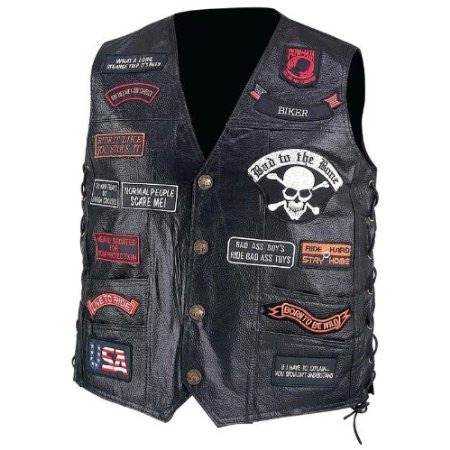 B&F System GFVBIK23M Diamond Plate Hand-Sewn Pebble Grain Genuine Buffalo Leather Biker Vest with 23 Patches - Peazz.com