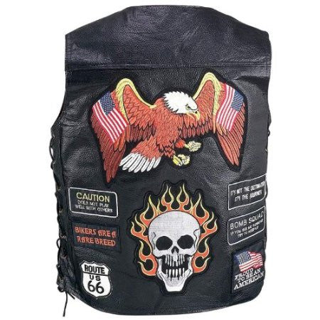 B&F System GFVBIK23XL Diamond Plate Hand-Sewn Pebble Grain Genuine Buffalo Leather Biker Vest with 23 Patches - Peazz.com