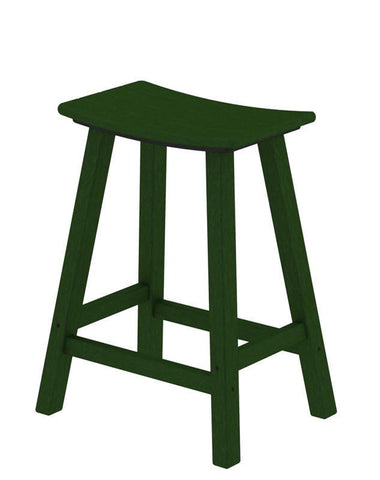 "Polywood 2001-GR Traditional 24"" Saddle Bar Stool in Green - PolyFurnitureStore"