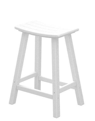 "Polywood 2001-WH Traditional 24"" Saddle Bar Stool in White - PolyFurnitureStore"