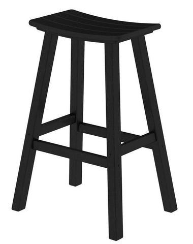 "Polywood 2002-BL Traditional 30"" Saddle Bar Stool in Black - PolyFurnitureStore"