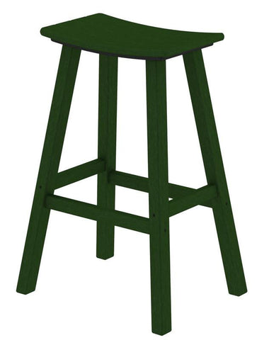 "Polywood 2002-GR Traditional 30"" Saddle Bar Stool in Green - PolyFurnitureStore"