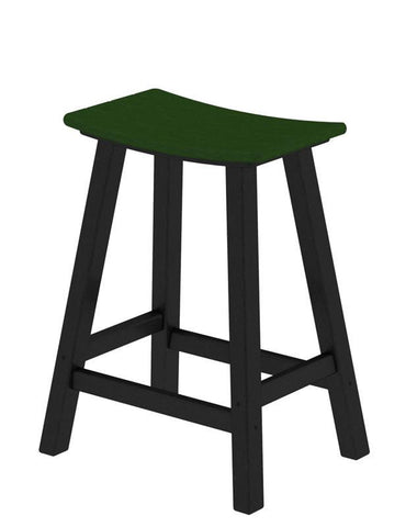 "Polywood 2011-FBLGR Contempo 24"" Saddle Bar Stool in Black Frame / Green - PolyFurnitureStore"