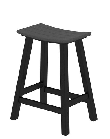 "Polywood 2011-FBLGY Contempo 24"" Saddle Bar Stool in Black Frame / Slate Grey - PolyFurnitureStore"