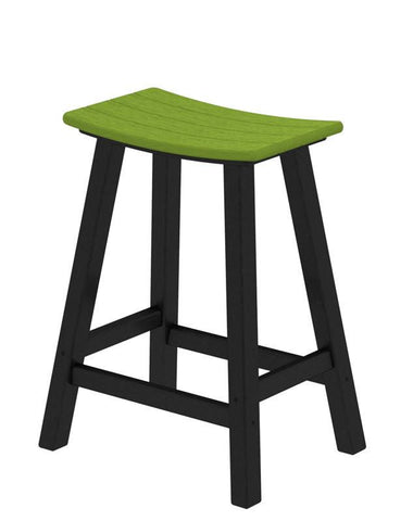 "Polywood 2011-FBLLI Contempo 24"" Saddle Bar Stool in Black Frame / Lime - PolyFurnitureStore"