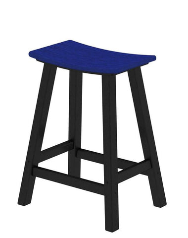 "Polywood 2011-FBLPB Contempo 24"" Saddle Bar Stool in Black Frame / Pacific Blue - PolyFurnitureStore"