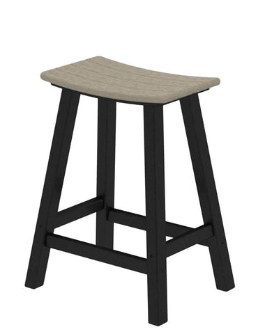 "Polywood 2011-FBLSA Contempo 24"" Saddle Bar Stool in Black Frame / Sand - PolyFurnitureStore"