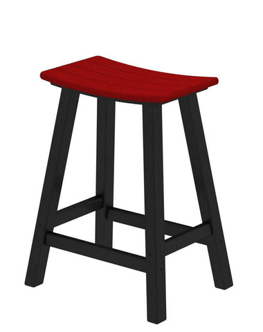 "Polywood 2011-FBLSR Contempo 24"" Saddle Bar Stool in Black Frame / Sunset Red - PolyFurnitureStore"