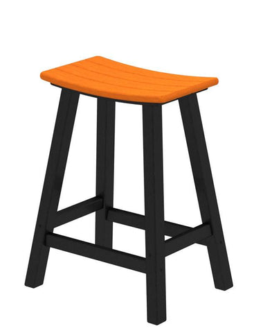 "Polywood 2011-FBLTA Contempo 24"" Saddle Bar Stool in Black Frame / Tangerine - PolyFurnitureStore"
