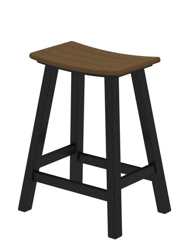 "Polywood 2011-FBLTE Contempo 24"" Saddle Bar Stool in Black Frame / Teak - PolyFurnitureStore"