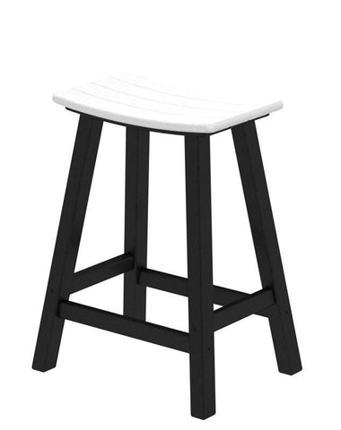 "Polywood 2011-FBLWH Contempo 24"" Saddle Bar Stool in Black Frame / White - PolyFurnitureStore"
