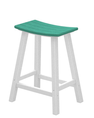 "Polywood 2011-FWHAR Contempo 24"" Saddle Bar Stool in White Frame / Aruba - PolyFurnitureStore"