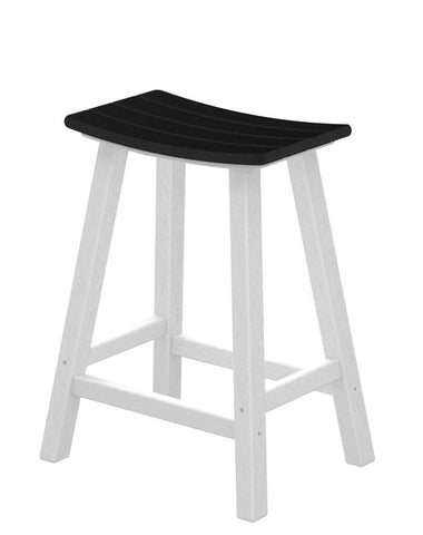 "Polywood 2011-FWHBL Contempo 24"" Saddle Bar Stool in White Frame / Black - PolyFurnitureStore"