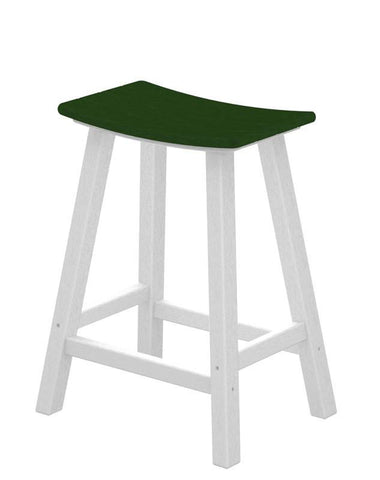 "Polywood 2011-FWHGR Contempo 24"" Saddle Bar Stool in White Frame / Green - PolyFurnitureStore"