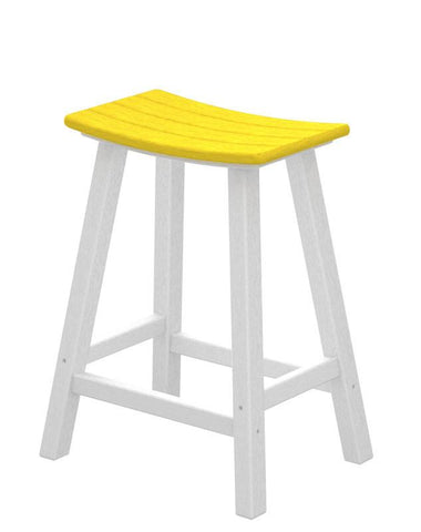 "Polywood 2011-FWHLE Contempo 24"" Saddle Bar Stool in White Frame / Lemon - PolyFurnitureStore"