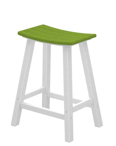 "Polywood 2011-FWHLI Contempo 24"" Saddle Bar Stool in White Frame / Lime - PolyFurnitureStore"