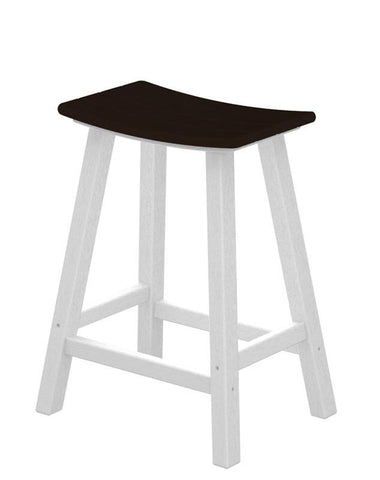 "Polywood 2011-FWHMA Contempo 24"" Saddle Bar Stool in White Frame / Mahogany - PolyFurnitureStore"
