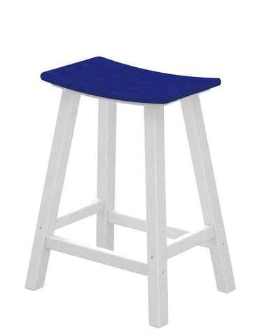 "Polywood 2011-FWHPB Contempo 24"" Saddle Bar Stool in White Frame / Pacific Blue - PolyFurnitureStore"