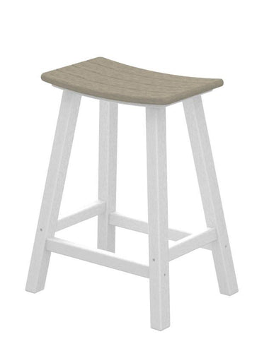 "Polywood 2011-FWHSA Contempo 24"" Saddle Bar Stool in White Frame / Sand - PolyFurnitureStore"