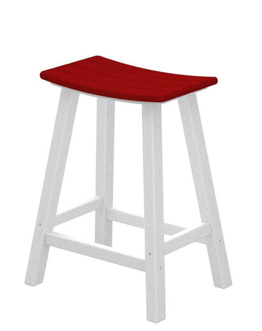 "Polywood 2011-FWHSR Contempo 24"" Saddle Bar Stool in White Frame / Sunset Red - PolyFurnitureStore"