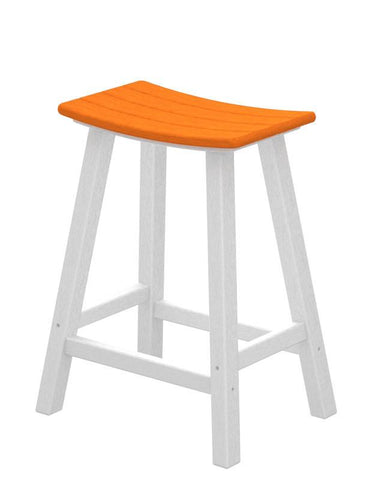 "Polywood 2011-FWHTA Contempo 24"" Saddle Bar Stool in White Frame / Tangerine - PolyFurnitureStore"