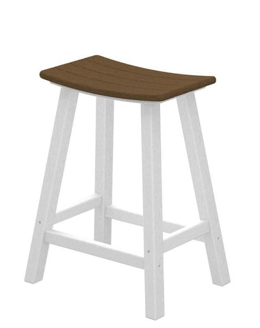 "Polywood 2011-FWHTE Contempo 24"" Saddle Bar Stool in White Frame / Teak - PolyFurnitureStore"