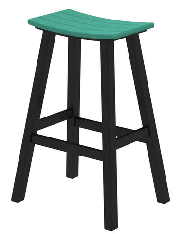 "Polywood 2012-FBLAR Contempo 30"" Saddle Bar Stool in Black Frame / Aruba - PolyFurnitureStore"