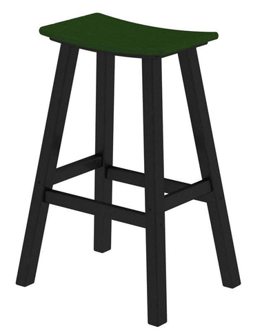"Polywood 2012-FBLGR Contempo 30"" Saddle Bar Stool in Black Frame / Green - PolyFurnitureStore"