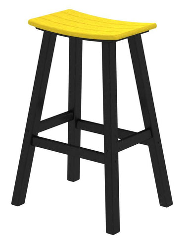 "Polywood 2012-FBLLE Contempo 30"" Saddle Bar Stool in Black Frame / Lemon - PolyFurnitureStore"