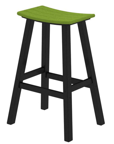 "Polywood 2012-FBLLI Contempo 30"" Saddle Bar Stool in Black Frame / Lime - PolyFurnitureStore"