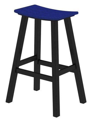 "Polywood 2012-FBLPB Contempo 30"" Saddle Bar Stool in Black Frame / Pacific Blue - PolyFurnitureStore"
