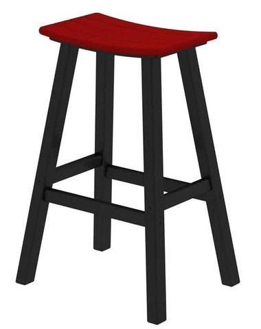 "Polywood 2012-FBLSR Contempo 30"" Saddle Bar Stool in Black Frame / Sunset Red - PolyFurnitureStore"