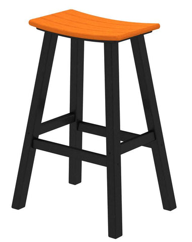 "Polywood 2012-FBLTA Contempo 30"" Saddle Bar Stool in Black Frame / Tangerine - PolyFurnitureStore"