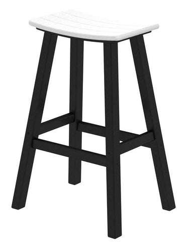 "Polywood 2012-FBLWH Contempo 30"" Saddle Bar Stool in Black Frame / White - PolyFurnitureStore"
