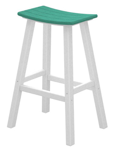 "Polywood 2012-FWHAR Contempo 30"" Saddle Bar Stool in White Frame / Aruba - PolyFurnitureStore"