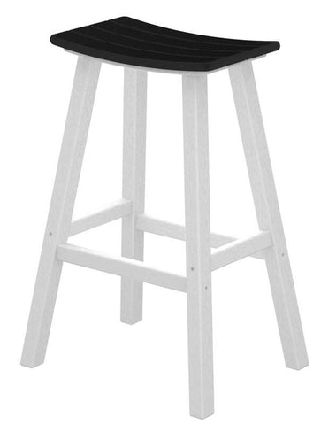 "Polywood 2012-FWHBL Contempo 30"" Saddle Bar Stool in White Frame / Black - PolyFurnitureStore"