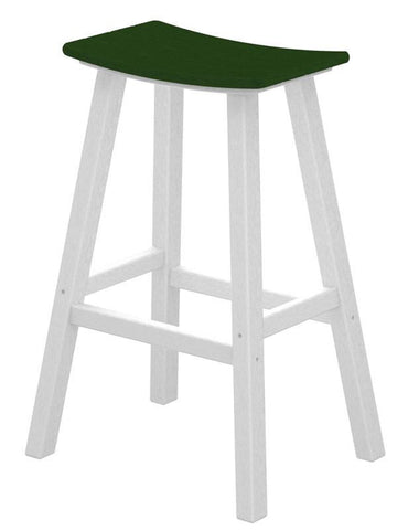 "Polywood 2012-FWHGR Contempo 30"" Saddle Bar Stool in White Frame / Green - PolyFurnitureStore"