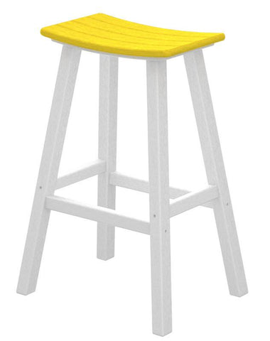 "Polywood 2012-FWHLE Contempo 30"" Saddle Bar Stool in White Frame / Lemon - PolyFurnitureStore"