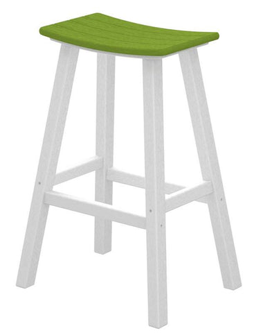 "Polywood 2012-FWHLI Contempo 30"" Saddle Bar Stool in White Frame / Lime - PolyFurnitureStore"