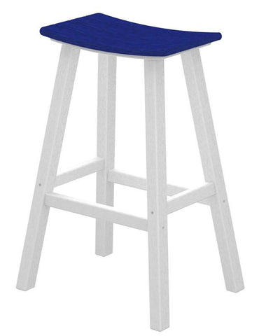 "Polywood 2012-FWHPB Contempo 30"" Saddle Bar Stool in White Frame / Pacific Blue - PolyFurnitureStore"