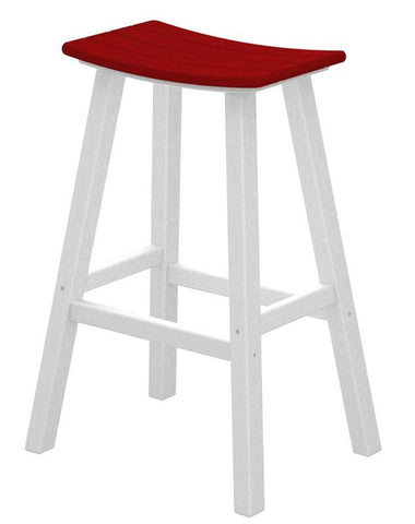 "Polywood 2012-FWHSR Contempo 30"" Saddle Bar Stool in White Frame / Sunset Red - PolyFurnitureStore"