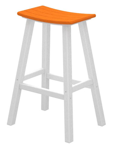 "Polywood 2012-FWHTA Contempo 30"" Saddle Bar Stool in White Frame / Tangerine - PolyFurnitureStore"