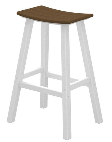 "Polywood 2012-FWHTE Contempo 30"" Saddle Bar Stool in White Frame / Teak - PolyFurnitureStore"