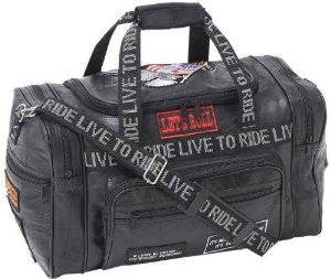 B&F System LULLTR Diamond Plate Rock Design Genuine Leather LIVE TO RIDE Tote Bag - Peazz.com