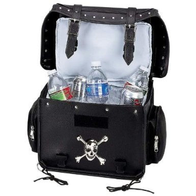 B&F System LUMCOOL Diamond Plate Motorcycle Trunk/Cooler Bag with Skull Medallion
