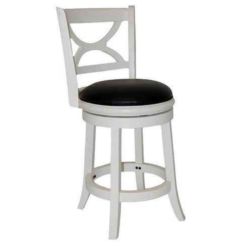 "Boraam 24"" Florence Swivel Stool - Distressed White (43724) - BarstoolDirect.com"